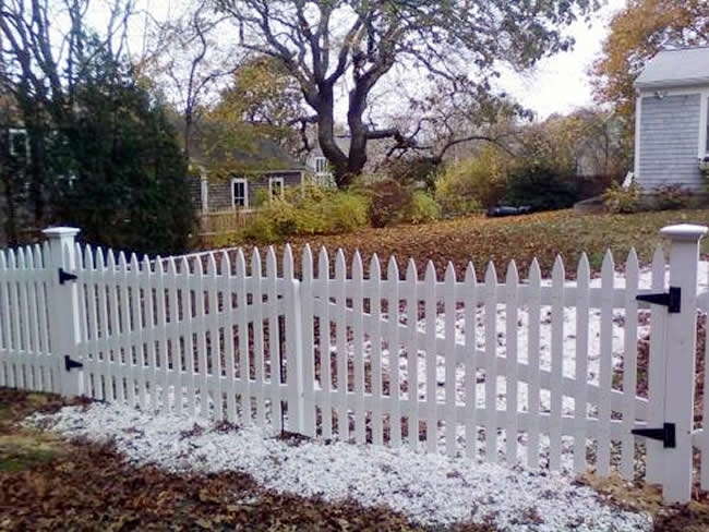 Picket Fence Double Nantucket Cedar Gate Stained -Picket Fence 4