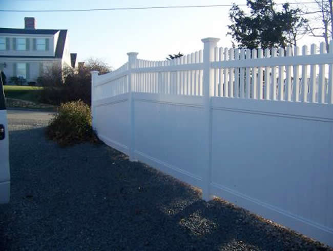 Privacy 4 to 2 Scalloped Baluster Double Gate Vinyl Aluminum Frame Privacy 3