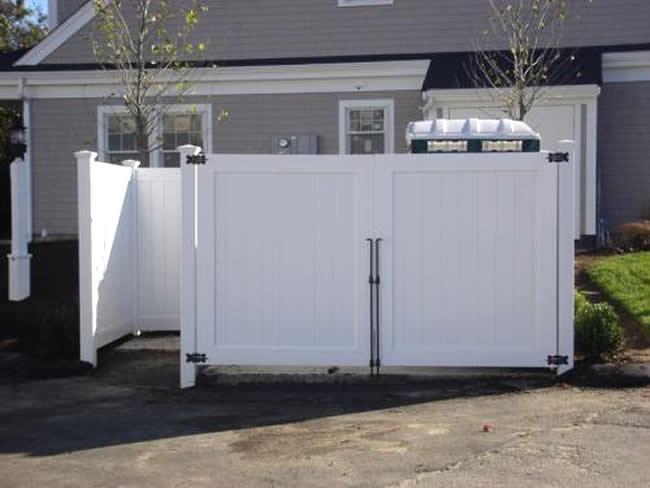 Privacy Dumpster Enclosure Vinyl Walk Gate Double Drive Gate - Privacy 8