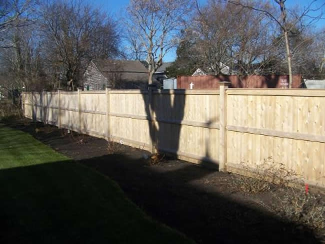 Privacy Fence Cedar Board Face Kick with Square Cedar Posts Caps - Privacy 13