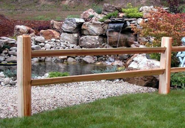 Rustic Red Cedar Two Rail with Notched Rail Ends - Rail 4