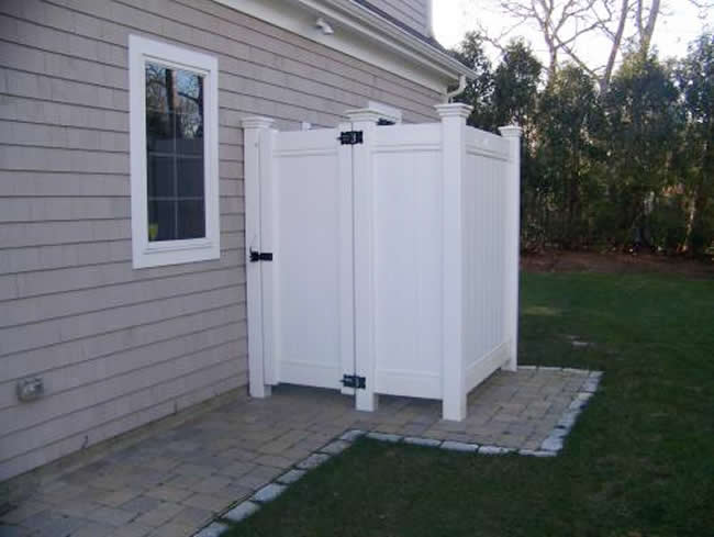 Vinyl Tongue and Groove Privacy Enclosure with Federal Post Caps and Gate - Enclosure 4