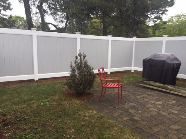 6 foot Gray Vinyl Board with White Trim - Privacy 29