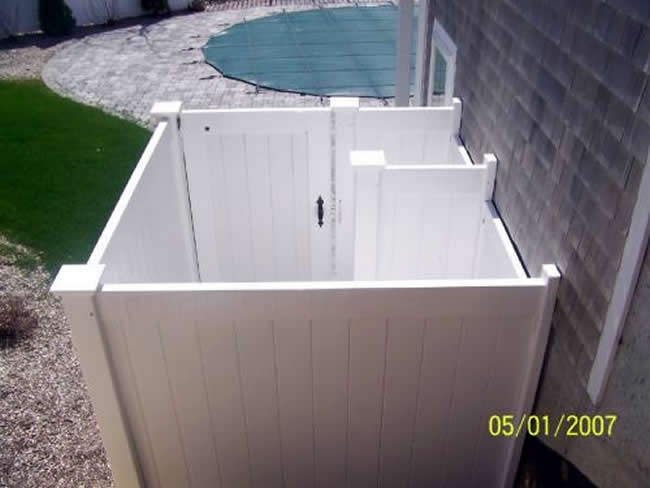 Vinyl Tongue and Groove Shower Enclosure with Divider House Post and Gate - Enclosure 3