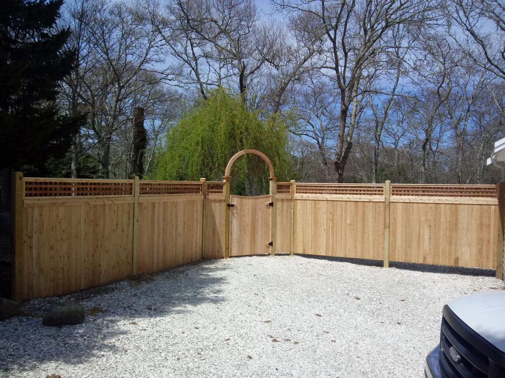 Cedar Board with Square Lattice Single Halo Arbor - Arbor 7